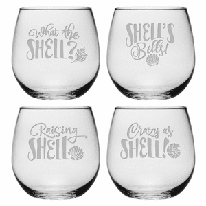 What the Shell Collection Stemless Wine Glasses - S/4