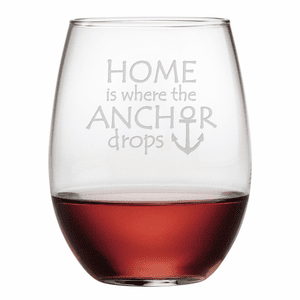 Where the Anchor Drops Stemless Wine Glasses - S/4