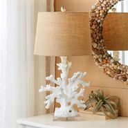 White Coral Table Lamp with Burlap Shade