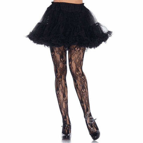 Black Rose Skull Lace Tights - Black Queen