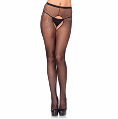 Crotchless Fishnet Pantyhose - Black Queen