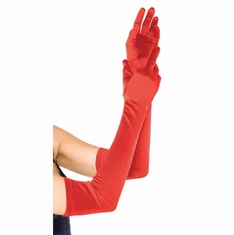 Extra Long Satin Gloves - Red O/S