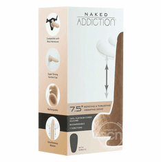 """Naked Addiction Silicone Rechargeable Thrusting, Vibrating, and Rotating Dildo - Beige 7.5"""""""