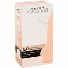 """Naked Addiction Silicone Rechargeable Vibrating and Rotating Dildo - Beige 8"""""""