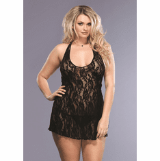 Rose Lace Halter Chemise and G-String - Black Queen