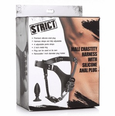 Strict Male Chastity Harness With Silicone Anal Plug  - Black Adjustable