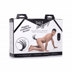 """Tailz Waggerz Moving & Vibrating Silicone Rechargeable Puppy Tail With Remote Control  - Black 14.25"""""""