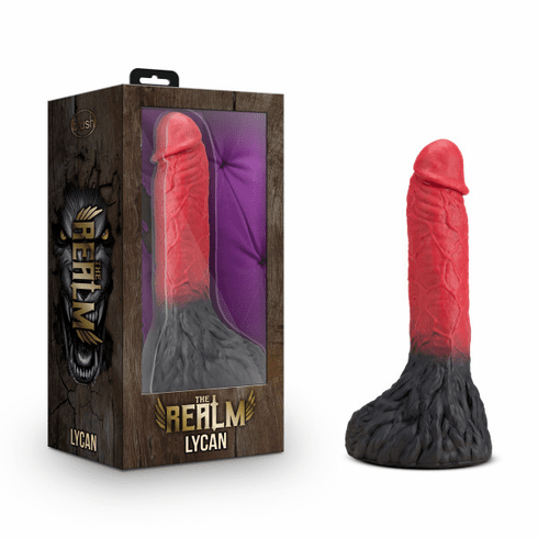 """The Realm Lycan Silicone Lock On Werewolf Dildo - Red/Black 8.25"""""""