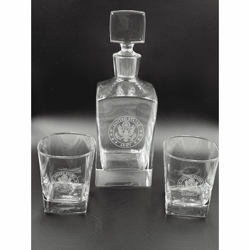 Army Decanter Set with 2 Glasses