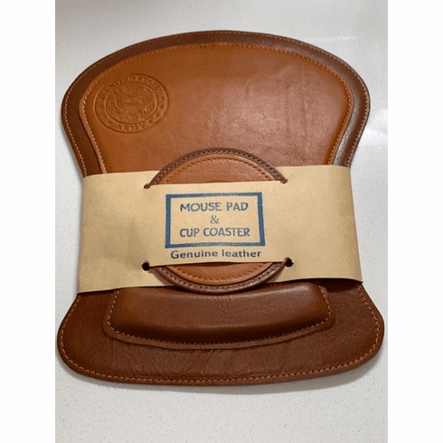 Army Leather Mouse Pad and Coaster Set