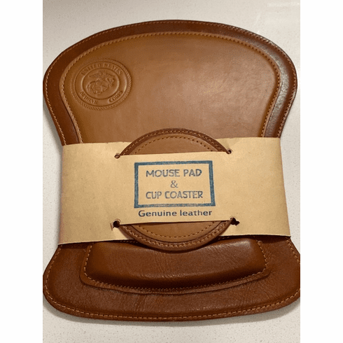 Genuine Leather Mouse Pad and Coaster Set