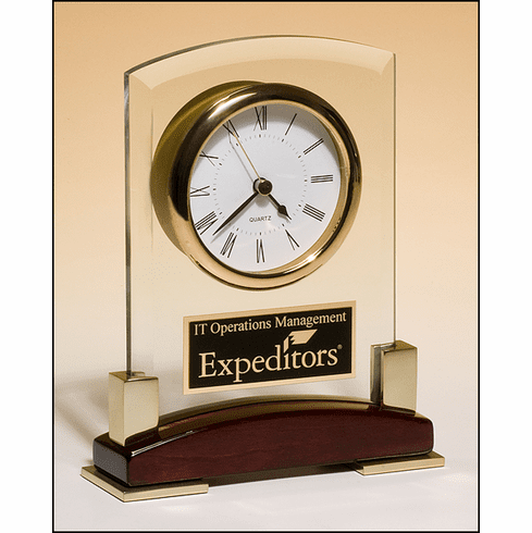 Glass Clock with Rosewood Base