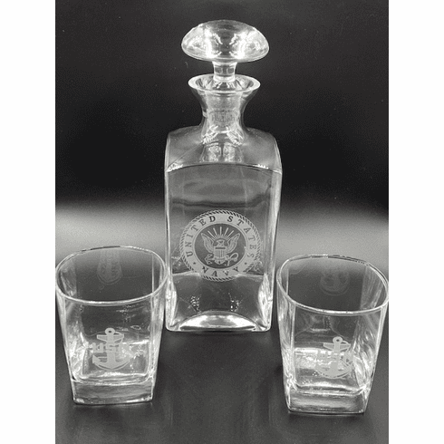Navy Decanter with 2 CPO Glasses