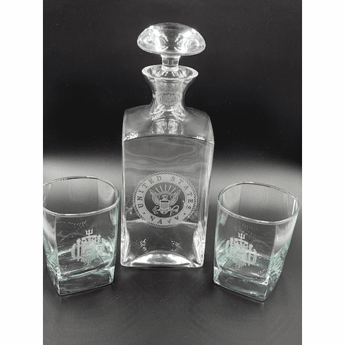 Navy Decanter with 2 Naval Academy Glasses