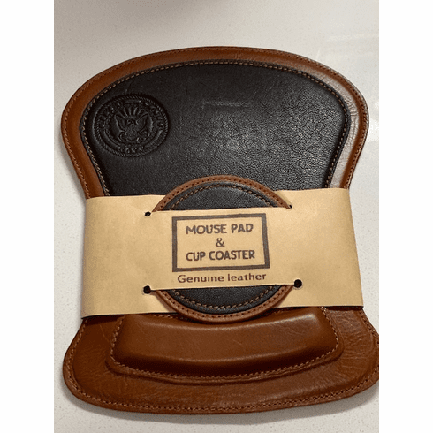 Navy Leather Mouse Pad and Coaster Set