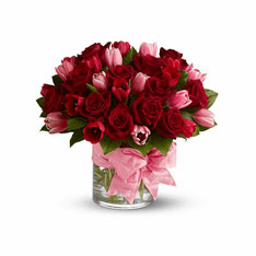 rose and tulips in vase