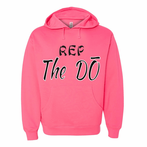 """PINK HOODIE WITH """"REP THE DO"""" SLOGAN"""