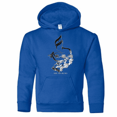 ROYAL BLUE HOODIE 3 D SHU HA RI DO SYMBOL