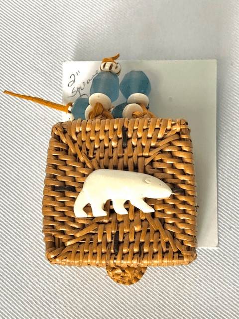 """2"""" SQUARE HAND WOVEN GRASS BASKET WITH CARVED BONE"""