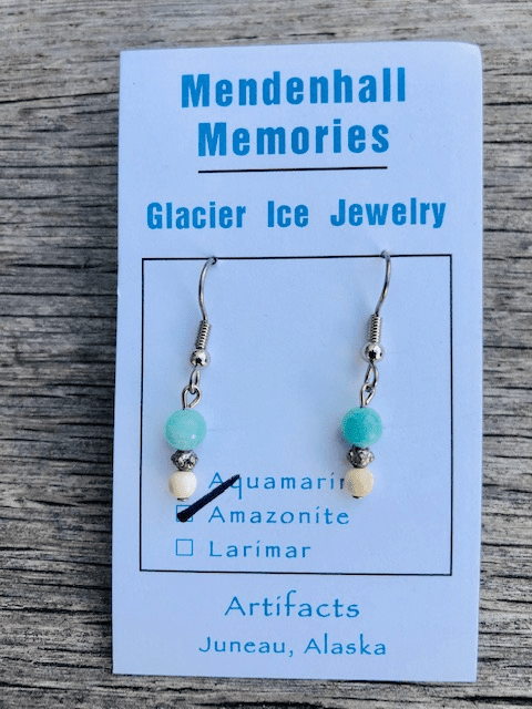 AMAZONITE AND MAMMOTH BEAD EARRINGS