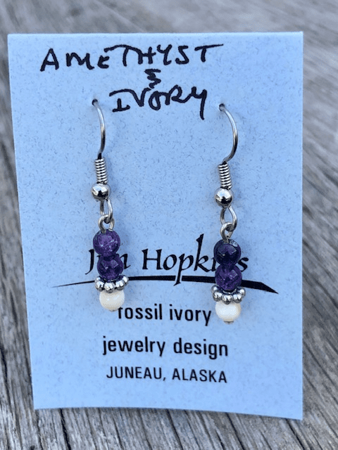 AMETHYST AND MAMMOTH IVORY BEAD EARRINGS