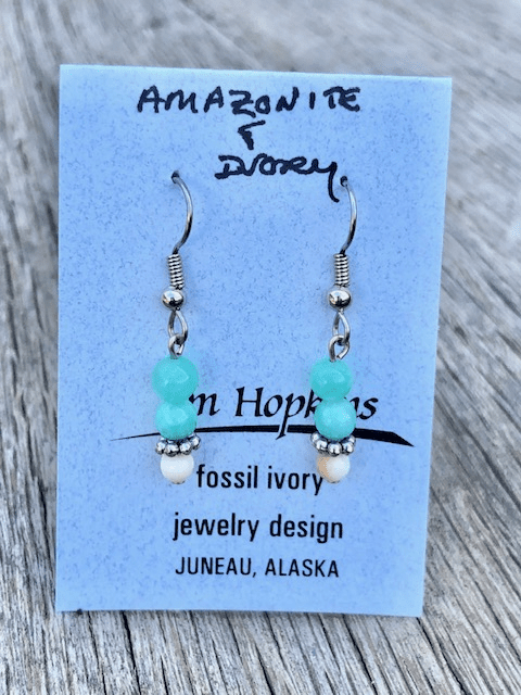 AMZONITE AND MAMMOTH IVORY BEAD EARRINGS