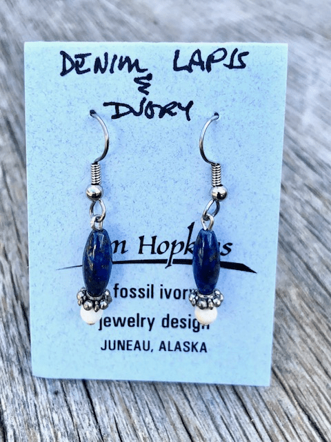 DENIM LAPIS AND MAMMOTH IVORY BEAD EARRINGS