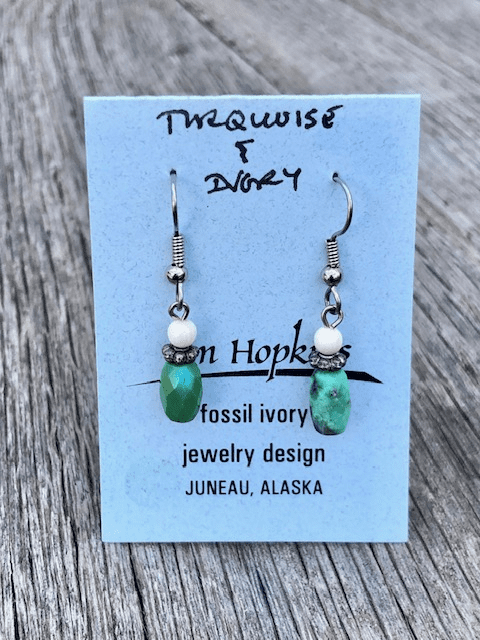 FACETED TURQUOISE AND MAMMOTH IVORY BEAD EARRINGS