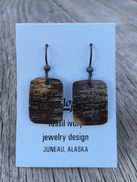 FOSSIL MAMMOTH IVORY EARRINGS BY JIM HOPKINS