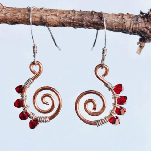 HAMMERED COPPER COIL EARRINGS