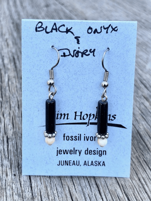 HEMATITE AND MAMMOTH IVORY BEAD EARRINGS
