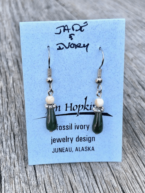 JADE AND MAMMOTH IVORY BEAD EARRINGS