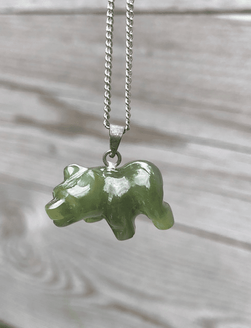JADE BROWN BEAR NECKLACE