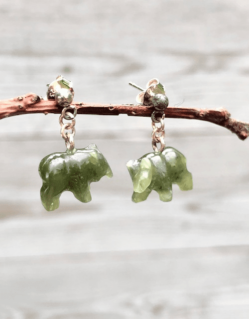JADE BROWN BEAR POST DANGLE EARRINGS