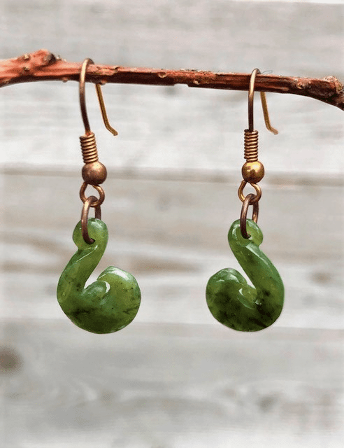JADE FISH HOOK EARRINGS