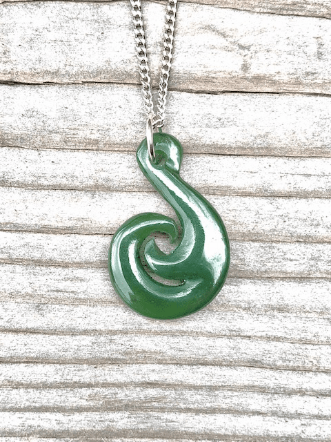 JADE FISH HOOK PENDANT ON SILVER CHAIN