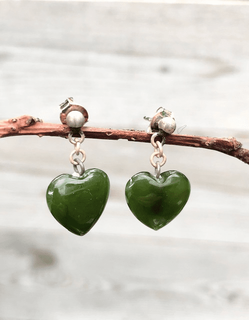 JADE HEART POST DANGLE EARRINGS