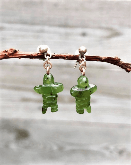 JADE INUKSHUK POST DANGLE EARRINGS