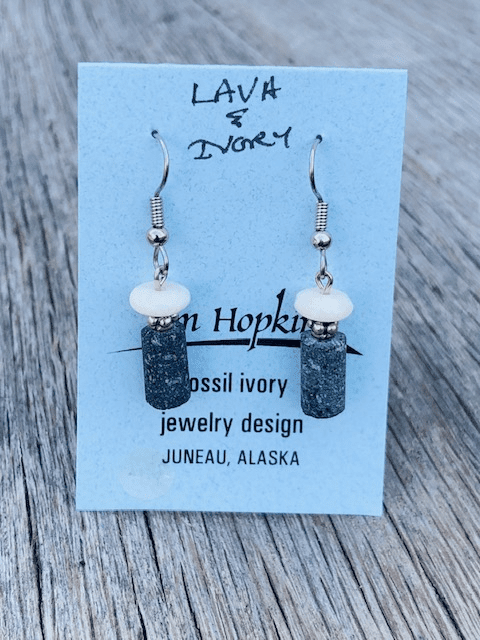 LAVA AND MAMMOTH IVORY BEAD EARRINGS