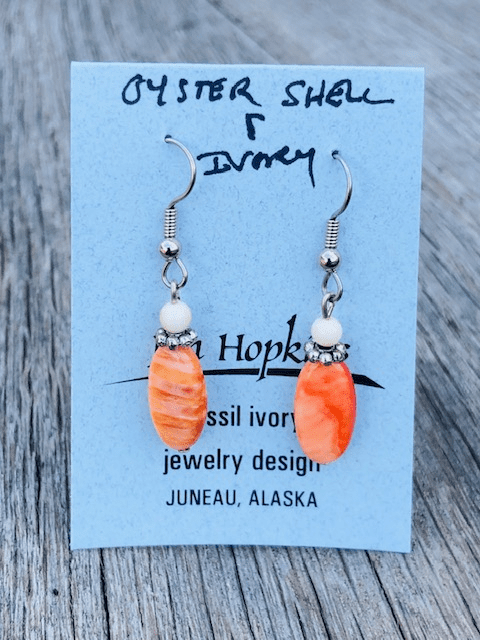 OYSTER SHELL AND MAMMOTH IVORY BEAD EARRINGS
