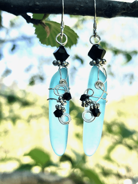 SKY BLUE SEA GLASS DAGGER SHAPED EARRINGS