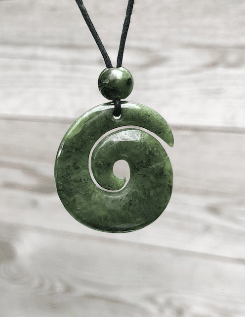 SPIRAL JADE PENDANT WITH BLACK CORD