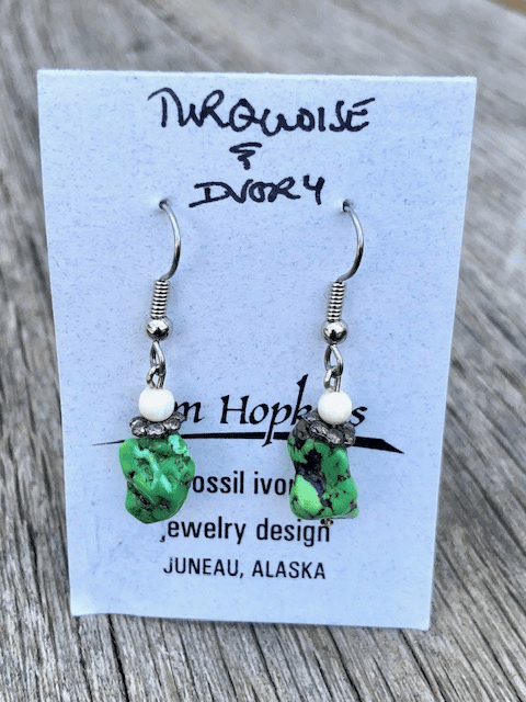 TURQUOISE AND MAMMOTH IVORY BEAD EARRINGS