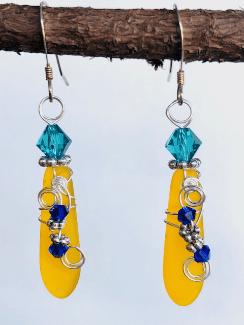 YELLOW SEA GLASS DAGGER SHAPED EARRINGS