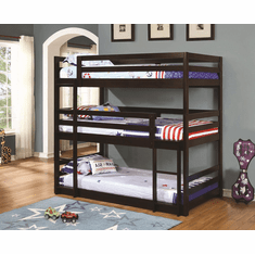 Sandler Cappuccino Triple Twin Bunk Bed by Coaster