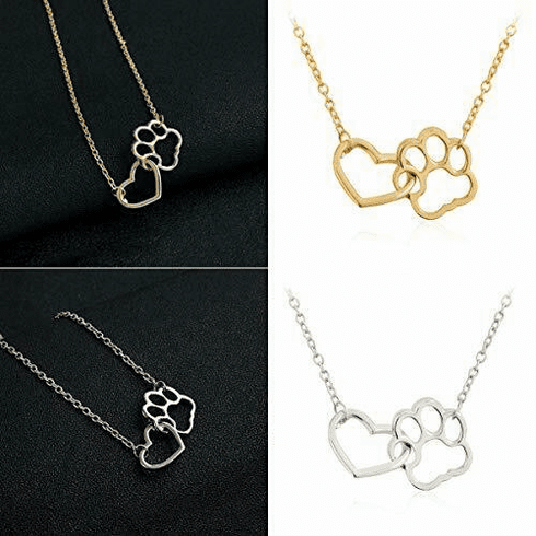 Paw print/Heart Necklace