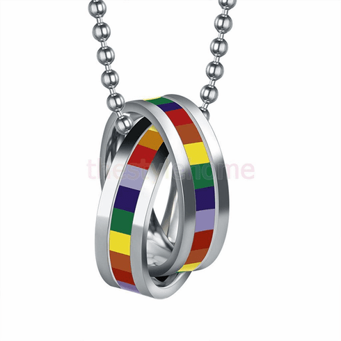 Rainbow Double Ring Necklace