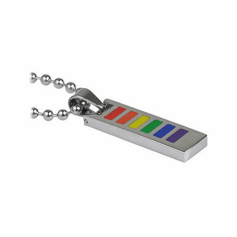Rainbow Enamel Stainless Steel Flat Necklace