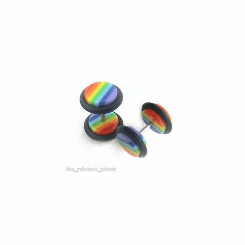 Rainbow Faux Ear Plugs