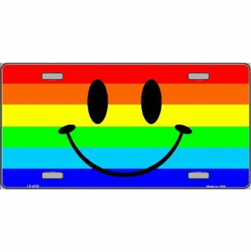 Rainbow Smiley License Plate